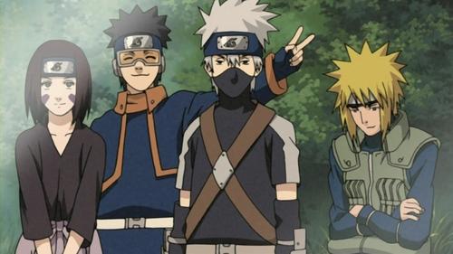 Minato with Kakashi, Rin and Obito. ~