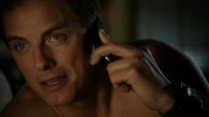 John Barrowman as Captain Jack Harkness on the phone to Gwen Cooper ;)