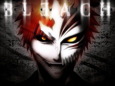 Ichigo Kurosaki (bleach) wearing a hollow mask