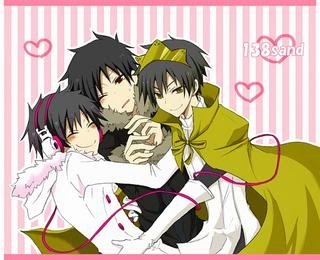 """""""Shyness Your name means Shyness. When it comes to strangers, anda are sometimes really shy. But when anda are with your best friends anda tend to be really crazy and fun."""" Izaya ((one in the middle)) would be me Psyche ((the one in pink))would be my best girl friend Hibiya ((the one with a crown)) would be my best guy friend"""
