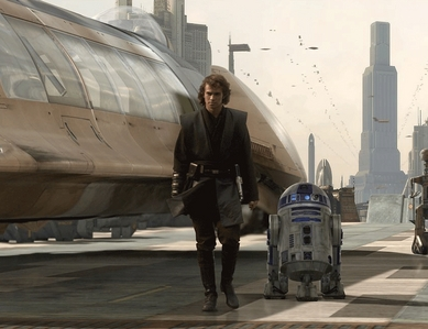 Anakin Skywalker,the future Darth Vader(played oleh Hayden Christensen),with R2D2,from SW:Revenge of the Sith.