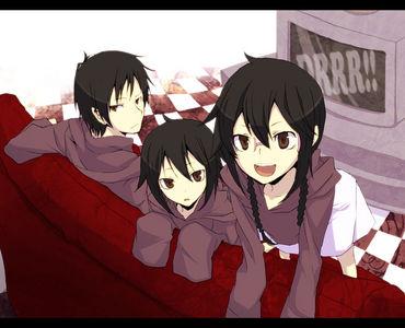 Izaya Orihara with his sisters~ Mairu and Kururi