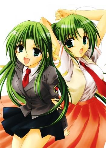 Shion and Mion Sonozaki from Higurashi No Naku Koro Ni.