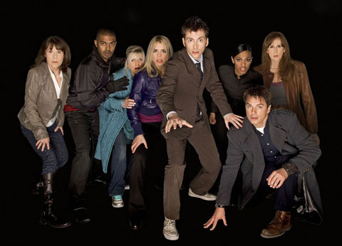 John Barrowman with Doctor Who cast ;)