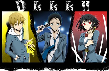 Masaomi Kida, Mikado Ryugamine, Anri Sonohara All wearing there school uniform =3