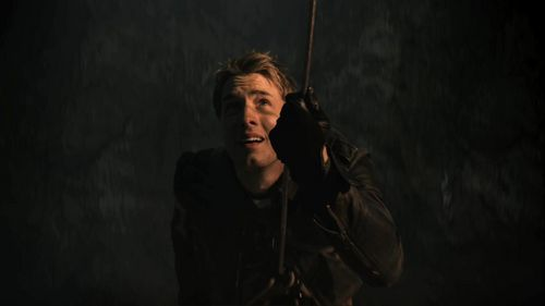 """Ollie in """"Prophecy"""", making his way down into a cave with a rope <333"""