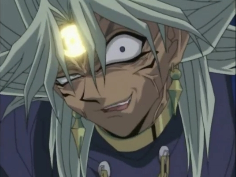 "All righty here's Dark Marik from Yu-Gi-Oh with his usual""wicked"" grin"