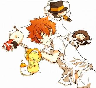 I-pin, Reborn, Natsu, Tsuna, and Lambo from Katekyo Hitman Reborn! (KHR!)
