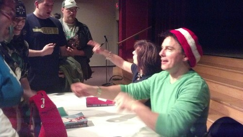 John Barrowman about to hug a fan :) P.S Loving the hat ;)