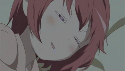Akari from YuruYuri… She sleeps with her eyes slightly open, I know, it's weird.