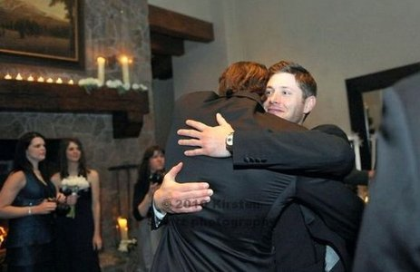 Jensen Ackles hugging Jared Padalecki