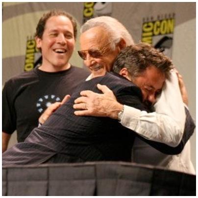RDJr hugging Stan Lee