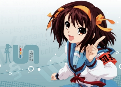 This one of Haru-chan from The Melancholy of Haruhi Suzumiya! it was the background for iPad for such a long time x)