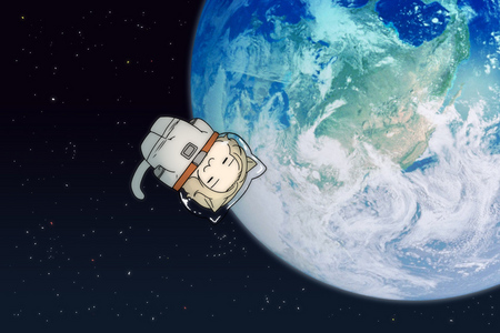 This is one of my kegemaran Hetalia wallpapers~ France-kitty in space~! I just Cinta this one so much~