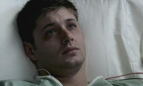 """Jensen in a scene from """"Faith"""", in the hospital after he got electrocuted :(("""