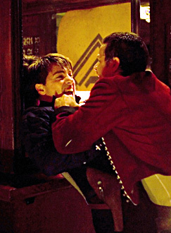 John Barrowman and James Marsters in a fight on Torchwood.