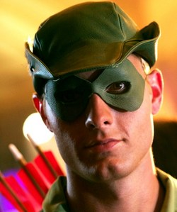 """Ollie in a close-up from """"Wither"""", dressed as a very sexy Robin hood <333"""