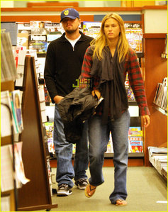 Leonardo DiCaprio with his girlfriend, Bar Refaeli. :)