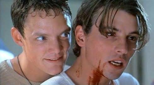 Matthew Lillard and Skeet Ulrich as Stu and Billy in Scream