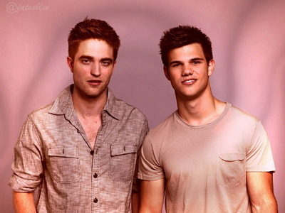 my gorgeous Robert with his co-star,Taylor Lautner with a rosa, -de-rosa tone background<3