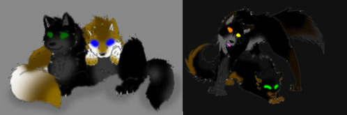 On the left is Darkstar and his mate Goldenrain, on the right are their daughters; Leafshade(lying down) and Hollowsong(standing) Can they be in the Snowpack?
