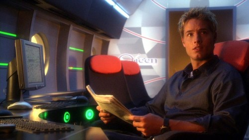 """Ollie in a scene from """"Identity"""", having transformed the inside of his private jet from a party zone back to a mobile operation base for his various businesses <3333"""