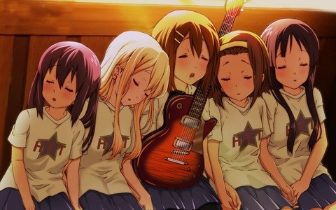 k-on! mio,yui,azusa,mugi and ritsu after their last HTT performance at the school festival