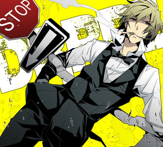 Shizu-chan and his stop sign...it's all the weapon he needs.