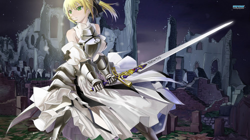 Saber lily with her Excalibur!!! gods, iv'e been using this pic for a trillionth time! lol xD