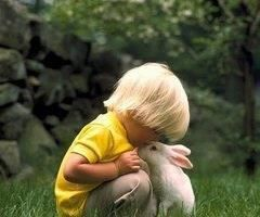 this is soooo beyond cute.Here's my precious Pattinson,who is about 3 years old in this pic giving a little Kiss to a bunny......awwwww<3