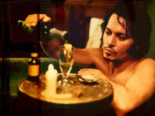 Johnny in a bathtub drinking Absinthe <3