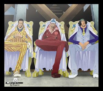 3 admiral from One Piece kizaru(light) akainu(magma) Aokiji(ice)