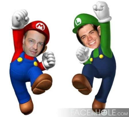 Matthew and his brother, Joey pretending to be Mario and Luigi. :D