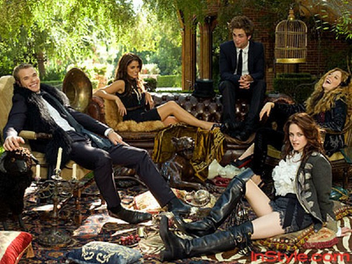 my gorgeous baby and Kellan Lutz sitting with 3 of their Twilight female co-stars-Kristen Stewart,Nikki Reed and Rachelle Le Fevre,for a photoshoot<3