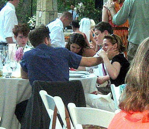 my handsome Robert(with his back to the camera),with Kristen Stewart at his friend's wedding<3