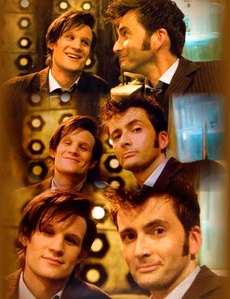 Matt Smith and David Tennant wearing the same clothes during the filming of the regeneration scene of Doctor Who.