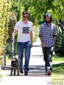 here's my sexy Robert(with his friend,actor Tom Sturridge) walking his adorable dog,Bear<3