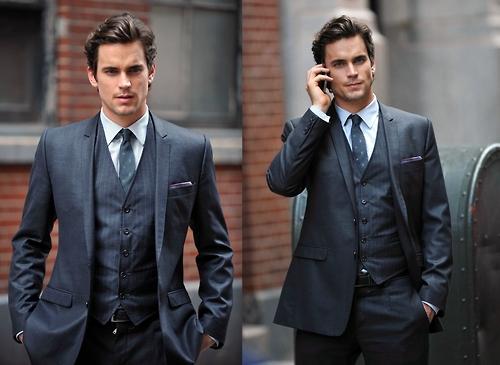 Matt Bomer looking sexy in a dark grey three-piece suit :)