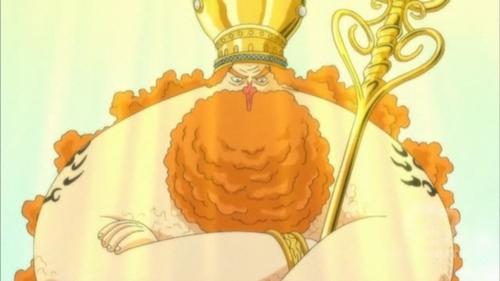 "King Neptune (one piece) he always say Jamon after every sentence........heh he hee eg: ""i am here jamon"" ""dont feel sad jamon"""