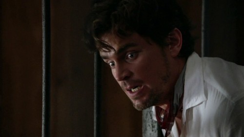 MB as Neal Caffrey, White Collar, looking very shocked, as he had just been shot.
