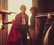 Aaron Tveit and George Blagden about to be shot in Les Misérables..I've never cried so hard as i did in that scene:'(