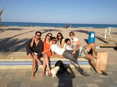 Fernando, left, black shirt, sunglasses