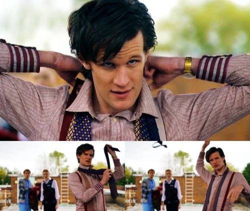 Matt Smith in his first episode on Doctor Who, looking for his bow tie.