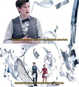 The Doctor holding Clara's hand
