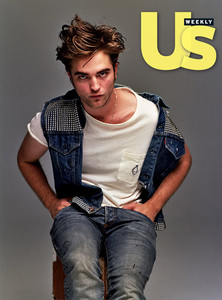 my handsome Robert wearing a blue studded vest for a magazine photoshoot<3
