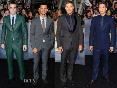 4 for the price of 1:my gorgeous Robert and 3 of his Twilight co-stars,Taylor,Kellan and Jackson wearing suits<3