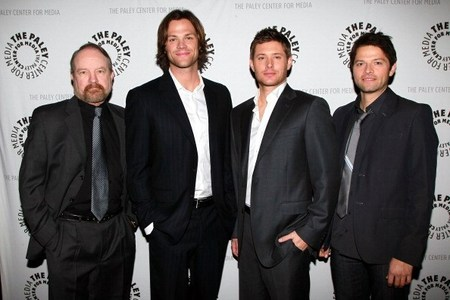 Winchesters and Friends, all dressed up (l-r Jim Beaver, Jared Padalecki, Jensen Ackles, Misha Collins, at the Paley Festival 2011) <33333