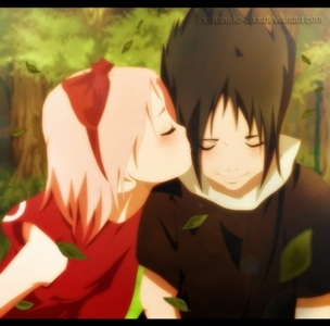 Sakura স্নেহ চুম্বন Sasuke :3 So cute <3