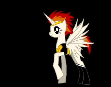 Could you draw my OC? she is an alicorn as you can see, and her cutie mark was drawn really fast so... ya... I would like her to be wearing a tall silver crown with a diamond shaped red jewl, and shoes like that. I will put another picture on another comment with her cutie mark! (could you make her with no costume on?)