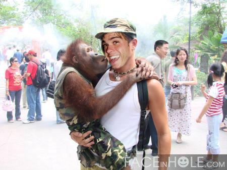 Matthew with a orangutan. :)